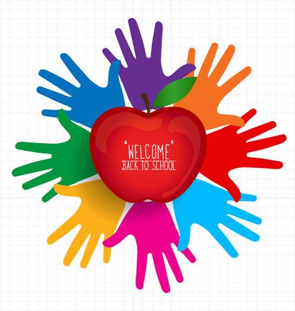 participacion: Bienvenido de nuevo a la escuela con las manos y la manzana, ilustraci�n vectorial.