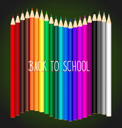 pencil: Welcome back to school with Color pencils background Illustration
