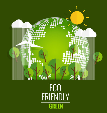 to go: ECO FRIENDLY. Ecology concept with Green Eco Earth and Trees. Vector illustration. Illustration