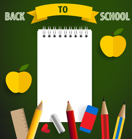 paper note: Welcome back to school with paper note vector illustration.