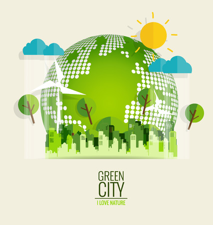 environment friendly: ECO FRIENDLY. Ecology concept with Green Eco Earth and Trees. Vector illustration. Illustration