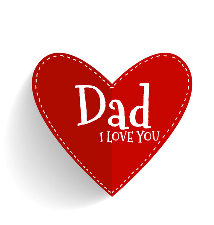 happy fathers day card: Happy fathers day card design with Red heart. Vector Illustration.