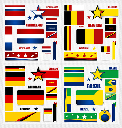 qualify: Collection of Brazil Flags, Belgium Flags, Germany Flags, Netherlands Flags, Flags concept design. Vector illustration. Illustration