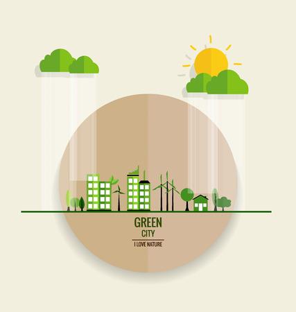 environmentally: Environmentally friendly world. Ecology concept. Vector illustration.