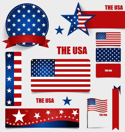 banderas america: Colección de banderas americanas, diseño Banderas concepto. Ilustración del vector.