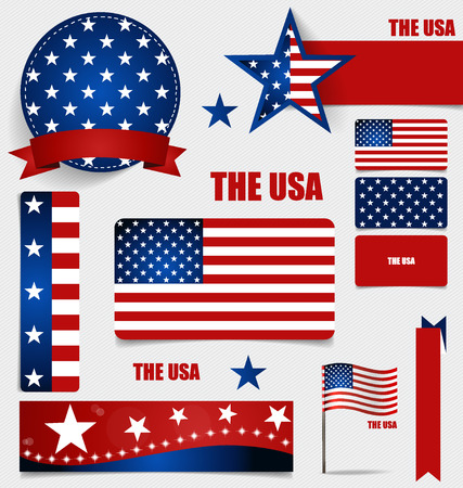 american flags: Collection of American Flags, Flags concept design. Vector illustration. Illustration