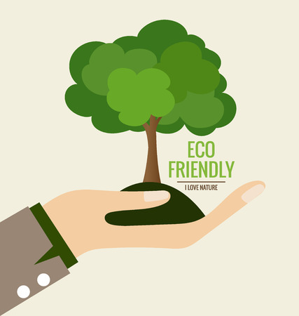 hands holding plant: ECO FRIENDLY. Ecology concept with Hand and tree background. Vector illustration.