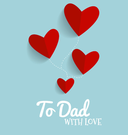 fathers day background: Happy fathers day card design with Red heart. Vector Illustration.