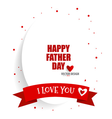 Happy fathers day card design with red ribbon. Vector Illustration. Illustration