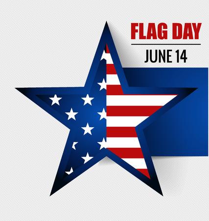 14: American Flag Day, 14 of June Flag Day. Vector illustration.