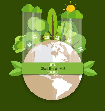 planeta verde: ECO FRIENDLY. Concepto de la ecolog�a con Green Eco Tierra y �rboles. Ilustraci�n del vector.