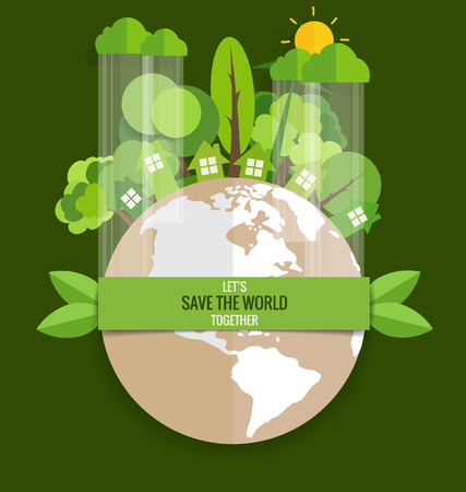 green banner: ECO FRIENDLY. Ecology concept with Green Eco Earth and Trees. Vector illustration. Illustration