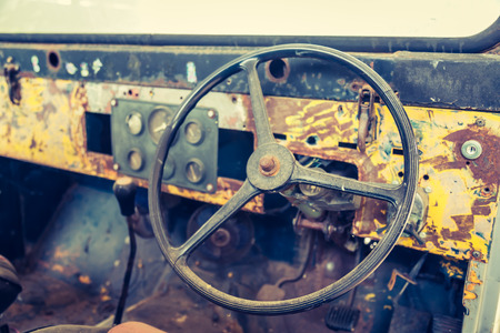 petrolium: Interior of vintage car ( Filtered image processed vintage effect. )