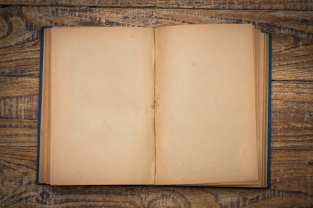 Open blank pages of old book on wood background Stockfoto
