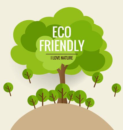 環境にやさしい。ツリーの背景色と生態学の概念。ベクトルの図。  イラスト・ベクター素材