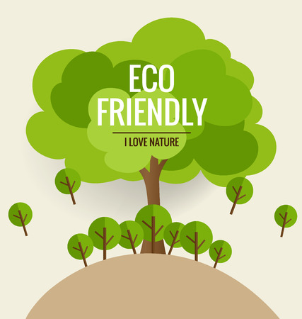 environmentally friendly: ECO FRIENDLY. Ecology concept with tree background. Vector illustration.