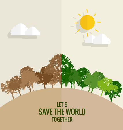 ECO FRIENDLY. Ecology concept with tree background. Vector illustration. Vector Illustration