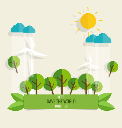 save the environment: ECO FRIENDLY. Ecology concept with tree background. Vector illustration.