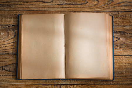 blank page: Open blank pages of old book on wood background Stock Photo