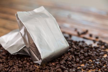airtight: New coffee foil bag on wood table