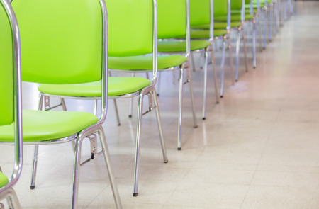 lined up: Meeting room chair lined up Stock Photo