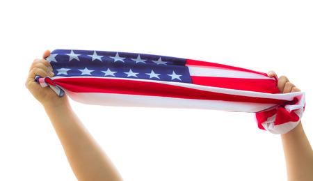 raise the white flag: Hand hold American flag Stock Photo