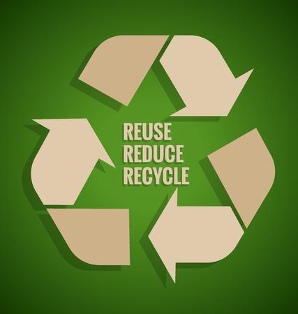 Ecology concept. Hergebruik, Reduce, Recycle concept op groene achtergrond. Vector illustratie.