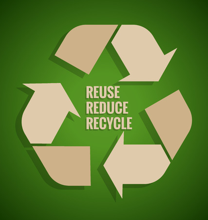 earth friendly: Ecology concept. Reuse, Reduce, Recycle concept on green background. Vector illustration.