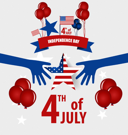 Happy independence day card United States of America. 4 th of July banner illustration design with american flag.