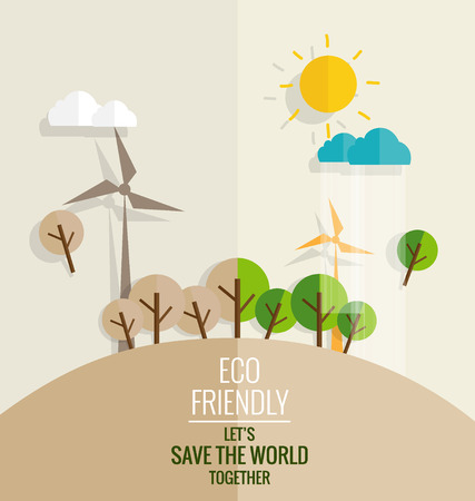 nature eco: ECO FRIENDLY. Ecology concept with tree background. Vector illustration.