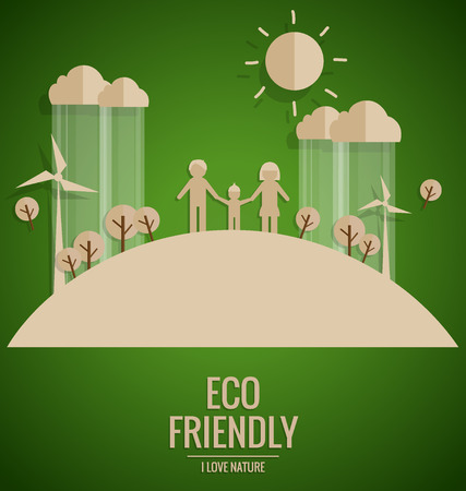 plant tree: Ecology concept. Paper cut of family and tree on green background. Vector illustration. Illustration