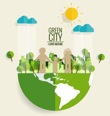 Ecologie concept. De besnoeiing van het document van familie en boom op groene achtergrond. Vector illustratie. Stock Illustratie