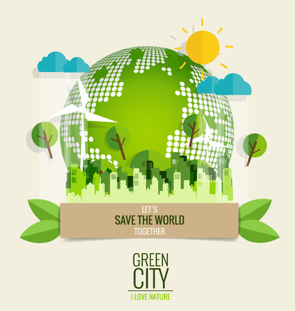 think green: ECO FRIENDLY. Ecology concept with Green Eco Earth and Trees. Vector illustration. Illustration