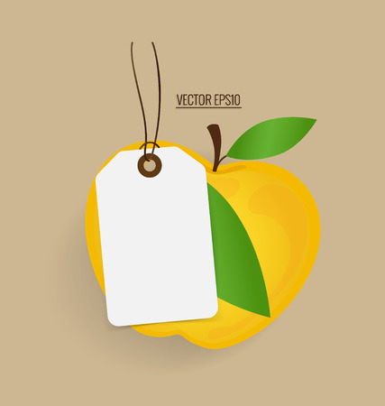 yellow apple: Paper note with yellow apple background, vector illustration.