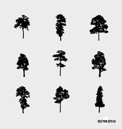tree silhouettes: Set of tree silhouettes. Vector illustration. Illustration
