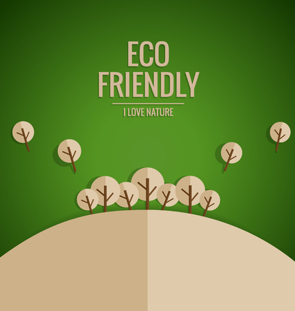 ECO: ECO FRIENDLY. Ecology concept with tree background. Vector illustration.