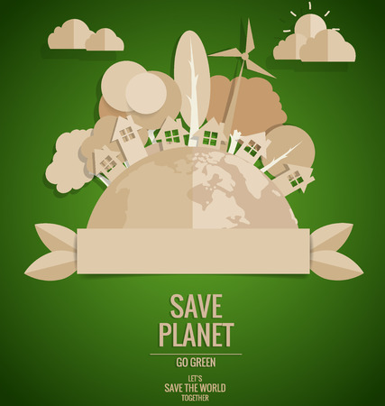 green globe: ECO FRIENDLY. Ecology concept with Green Eco Earth and Trees. Vector illustration. Illustration