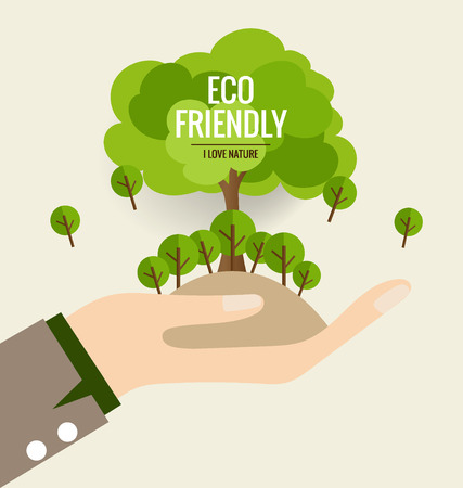 ECO FRIENDLY. Ecology concept with hand and tree background. Vector illustration.