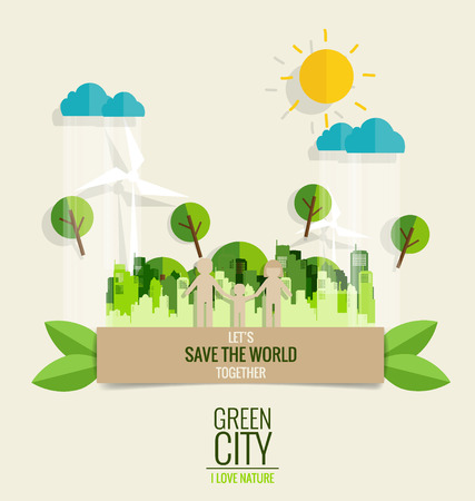 grass illustration: ECO FRIENDLY. Paper cut of family with city and tree background. Vector illustration.