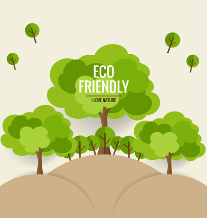 green banner: ECO FRIENDLY. Ecology concept with tree background. Vector illustration.