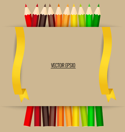 multicolored background: Paper note with color pencils background, vector illustration.