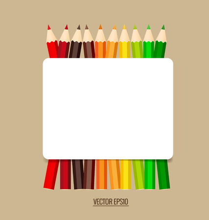 paper note: Paper note with color pencils background, vector illustration.