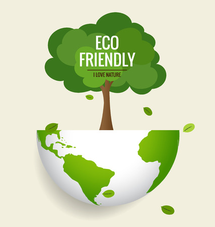 the natural world: ECO FRIENDLY. Ecology concept with globe and tree background. Vector illustration.