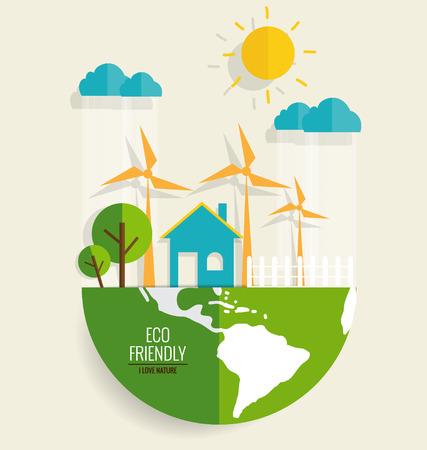 環境にやさしい。エコロジー コンセプト、ベクトル図です。  イラスト・ベクター素材