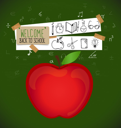 paper note: Welcome back to school with paper note, vector illustration.