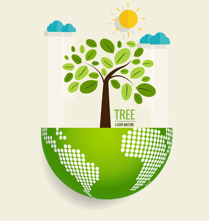 ECO: ECO FRIENDLY. Ecology concept with globe and tree background. Vector illustration.