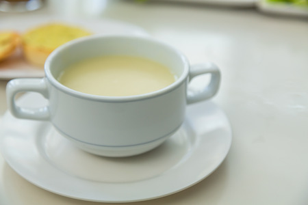 Cream soup on a table
