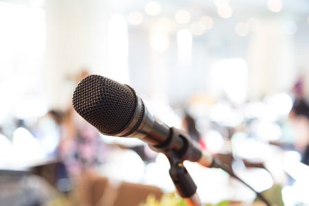 lecturing hall: Black microphone in   conference room Stock Photo