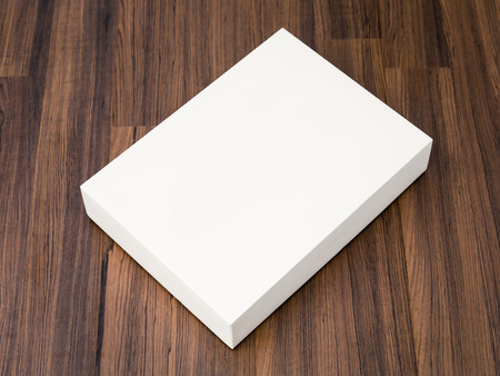 brown white: Blank white box mock up on wood background