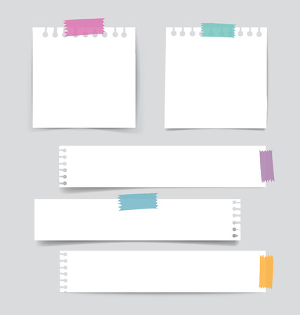 Collection of various white note papers, ready for your message. Vector illustration. Vettoriali
